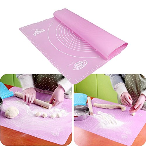 Silicone Dough Kneading Mat With Scale Pink - 7