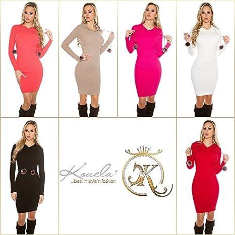 Koucla Strickkleid Minikleid Kleid Dress mit Fellbommel