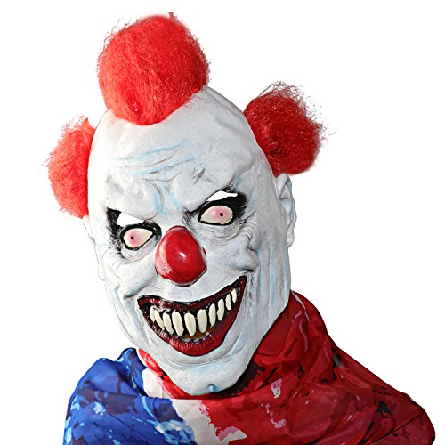 XIAO MO GU Latex Halloween Party Cosplay Face Mask Clown Costumes Mask (Red hair) (red)