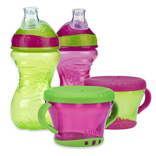 Nuby 4 Piece No-Spill Snack Set, Pink/Green