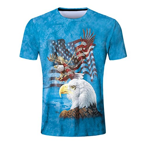 Eagle Dry Goods (Men's Fashion Casual Personality Design Dry Fit Slim American flag eagle 3D Printed Short Sleeve T Shirts)