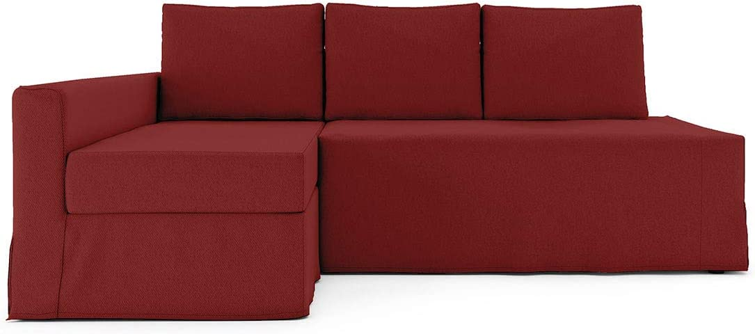 Tly Friheten - Funda para sofá de esquina, ajuste holgado, algodón, Rojo-L, chaise lounge on Left 07
