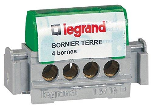 Legrand LEG92781 Bornier de terre 4 bornes pour c/âble 1,5 /à 16 mm Vert
