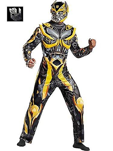 Disguise Men's Hasbro Transformers Age Of Extinction Movie Bumblebee Deluxe Costume, Yellow/Black, (Deluxe Bumblebee)