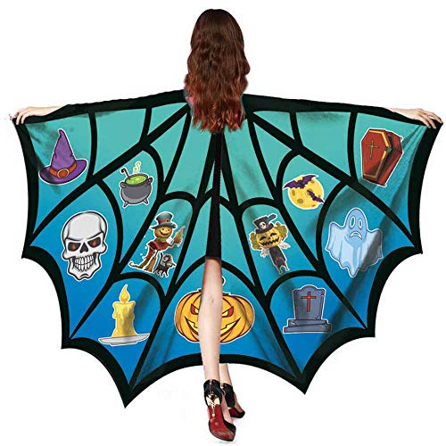 iZHH Women Men Halloween Print Bat Shawl Costume