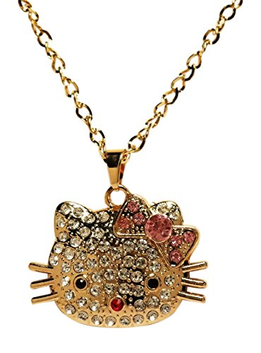 Necklace - Kitty Face - Large Gold Tone Rhinestone Encrusted Kitty Face - Kiki's Kitty Pretty