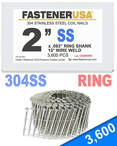 2'' x .093 RING 304 STAINLESS COIL NAILS 15 DEGREE WIRE 3.6M Box