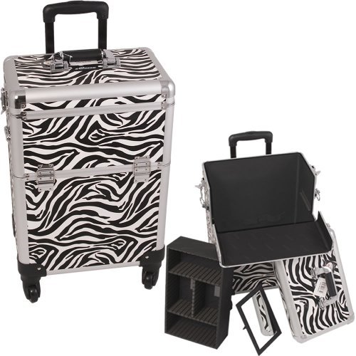 WHITE-INTERCHANGEABLE-4WHEELS-ZEBRA-TEXTURED-PRINTING-PROFESSIONAL-ROLLING-ALUMINUM-COSMETIC-MAKEUP-CASE-WITH-REMOVABLE-TRAY-AND-DIVIDERS-E6301