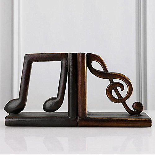 LPY-Set of 2 Bookends Resin Musical Note Style Handicrafts, Book Ends for Office or Study Room Home Shelf Decorative ()