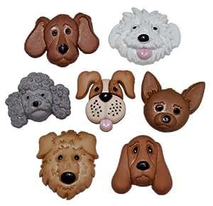 Vestido It Up botones borrosos caras perro botones de selección. Manualidades, Scrapbooking, Card Making joyas, tejer, coser, adornos etc.