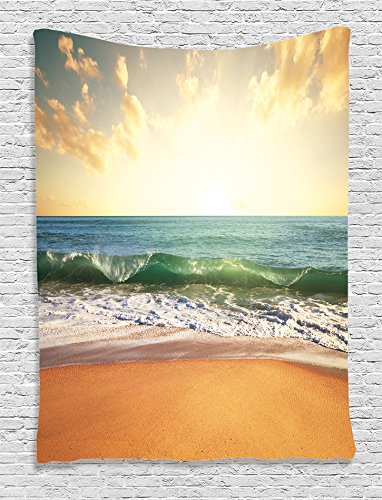 Ambesonne Ocean Decor Collection, Sunset at a Smooth Sandy Beach with Small Wave and Bubbles From the Sea Picture, Bedroom Living Room Dorm Wall Hanging Tapestry, Teal Beige Cream Blue
