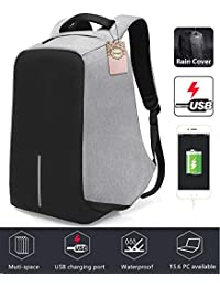 Anti-Theft Business Laptop Backpack with USB Charging Port Shockproof Waterproof Travel Book School Bag for College Student Work Men & Women-Grey