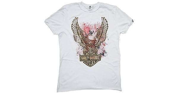 Harley-Davidson H D Classic Men – Camiseta de Blanco Official Personalizada Eagle Logo Águila: Amazon.es: Ropa y accesorios