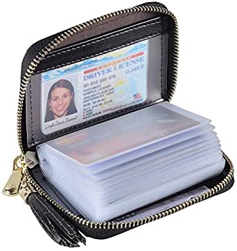 Yuhan Pretty Womens Credit Card Holder Wallet RFID Leather Small ID Card Case (20 Card Slots - Black New)