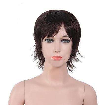 Los niños peluca chico pelo corto y lacio negro
