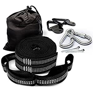 Premium Hammock Straps with Carabiners - Fits ALL Hammock Brands - 9 Ft Long, Extra Strong & Lightweight - No Stretch Polyester   FREE Bonus Hanging Kit ($10.00 Value) - Quick & Easy Setup