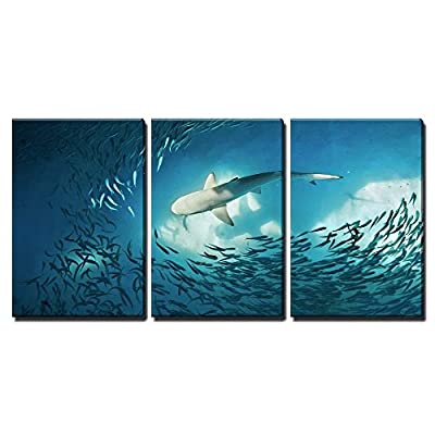 Original Creation, Delightful Craft, Shark and Small Fishes in Ocean Nature Background x3 Panels