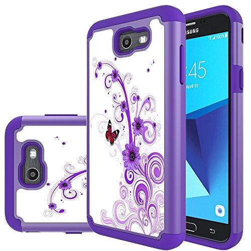 Galaxy J7 V Case, Galaxy J7 2017 Case, Galaxy J7 Sky Pro Case, Galaxy J7 Perx Case, MicroP Hybrid Dual Layer Silicone Plastic Armor Defender Case for Samsung Galaxy J7V 2017 (Armor Purple Flower)