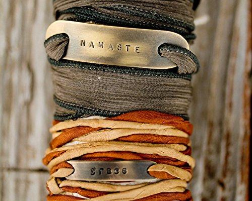 Hand Dyed THIN Silk Wrap Power Phrase Cord Bracelet / Namaste / Clarity / Grace / Hope / Choose Love / Boho / Inspirational / Beachcomber Collection