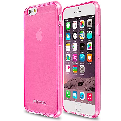 iPhone 6s Plus Case, PROWORX Premium Ultra [Slim Thin] Scratch Resistant TPU Gel Rubber Soft Skin Silicone Protector Case Cover Hot Pink For Apple iPhone 6 Plus / 6S Plus (Hot Pink Rubber Case)