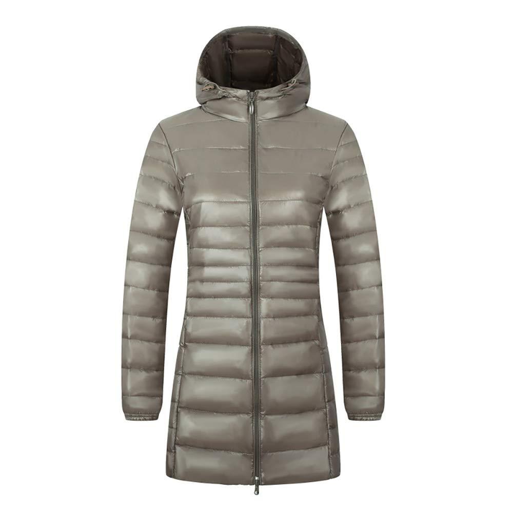 Abrigo largo de la chaqueta de las mujeres Abrigo de Invierno para Mujer con Capucha Chaqueta Ultra Ligera Abajo Chaqueta Delgada y Larga sólida Abajo Pluma ...