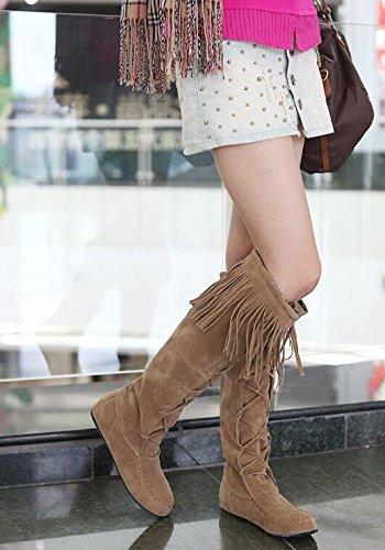 Gelb Hohe Damen Gesäumt Stiefel Spring Stiefel Stiefel Fashion n08qRx4