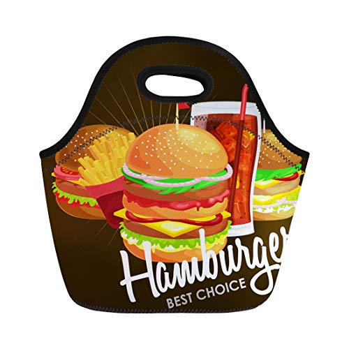 Semtomn Lunch Bags Tasty Burgers Grilled Beef and Fresh Vegetables Dressed Sauce Neoprene Lunch Bag Lunchbox Tote Bag Portable Picnic Bag Cooler Bag