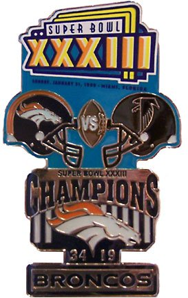 Super Bowl XXXIII Oversized Commemorative Pin by Pro Specialties Group
