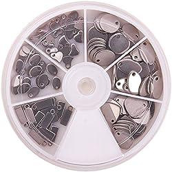 PandaHall Elite 120pcs 304 Stainless Steel Blank Stamping Tag Pendants Sets for Bracelet Earring Pendant Charms