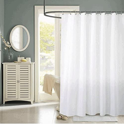 yoloplus shower curtain liner white 72 x 78 inch weighted hem extra long water repellent polyester fabric with 12 hooks included for bathroom showers