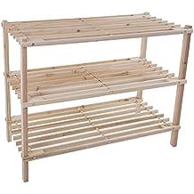 Wood Shoe Rack, Storage Bench – Closet, Bathroom, Kitchen, Entry Organizer, 3-Tier Space Saver Shoe Rack by Lavish Home