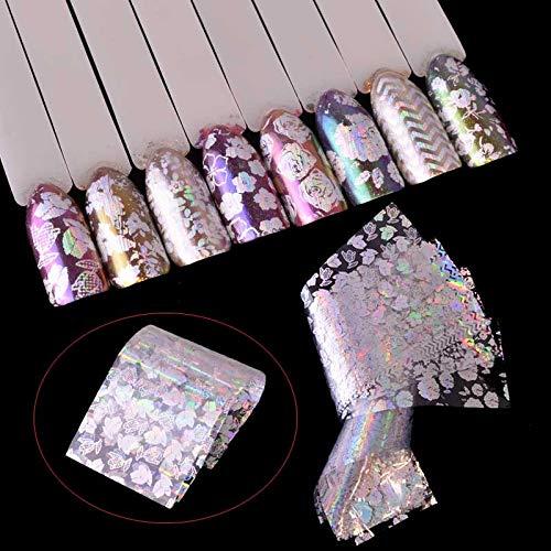 8pcs Transparent Laser Starry Transfer Sticker Nail Foils Flower Charming Design Manicure Salon Accessory for Nail Art Set