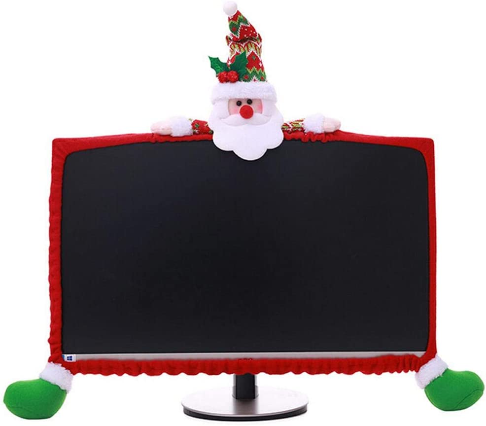Christmas Computer Monitor Cover, Elastic Xmas Decorations Santa Claus Computer Laptop Monitor Border Cover for Home Office Decor Year Gift Ideas