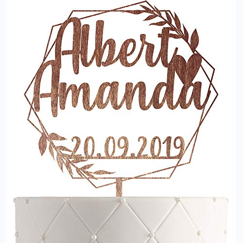 Personalized Wedding Cake Topper With Customized Bride and Groom Names and Marriage Date for Mr Mrs (Tall Groom Short Bride Wedding Cake Topper)