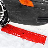 Zone Tech Emergency Tire Traction Mat - Premium Quality Strong Durable All Season Traction Tracks Mats for Emergencies and Road Trip