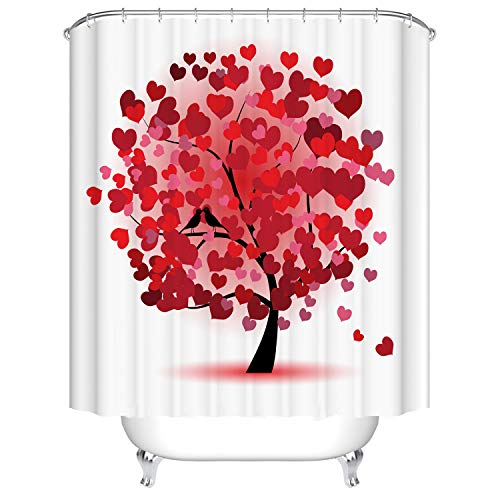 Heart Shower Curtain (Doduo Red Love Heart Tree Bathroom Decor Shower Curtain Waterproof Fabric Polyester Set with Hooks)