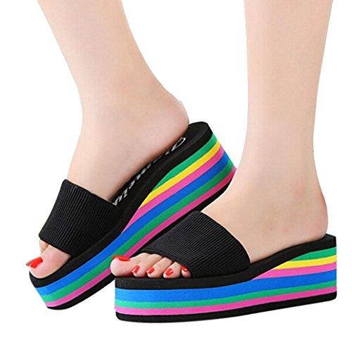 Sunbona Women's Summer Fashion Rainbow Anti-slip Peep Toe High Platform Wedge Sandals Casual Ladies Flip Flops Slip-on Slipper Flats Shoes (US:9(RU/EU/CN40), Black)