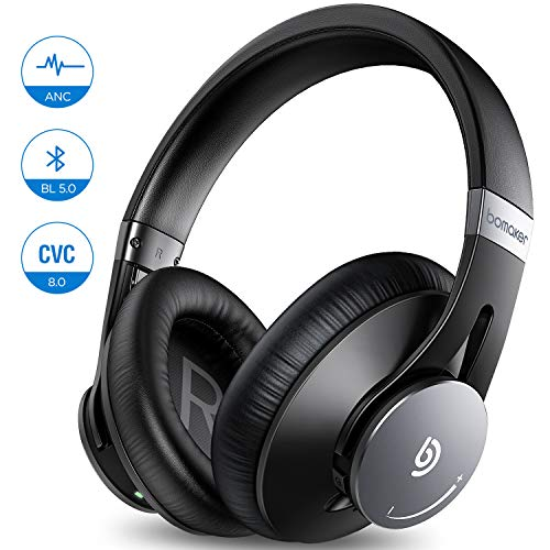 Wireless Active Noise Cancelling Headphones, Bomaker Wired & Wireless Bluetooth 5.0 Over Ear Headphone, Built-in Microphone, Hi-Fi Stereo Sound, CVC 8.0, with Waterproof Case, for PC/Mobile/TV, Black, ANC Headphones