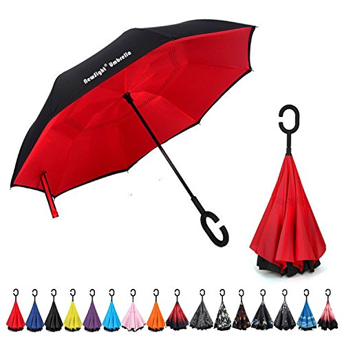 NewSight-ReverseInverted-Double-Layer-Waterproof-Straight-Umbrella-Self-Standing-C-Shape-Handle-Carrying-Bag-for-Free-Hands-Inside-Out-Folding-for-Car-Use