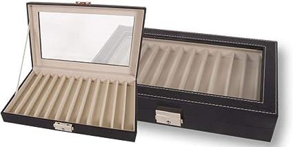 Caja EXPOSITOR de piel para PLUMAS o BOLÍGRAFOS con capacidad de 12 unidades y con cierre de seguridad. Color Negro. Dakota. 1 unidad: Amazon.es: Oficina y papelería
