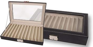 Caja EXPOSITOR de piel para PLUMAS o BOLÍGRAFOS con capacidad de 12 unidades y con cierre de seguridad. Color Negro. Dakota. 1 unidad