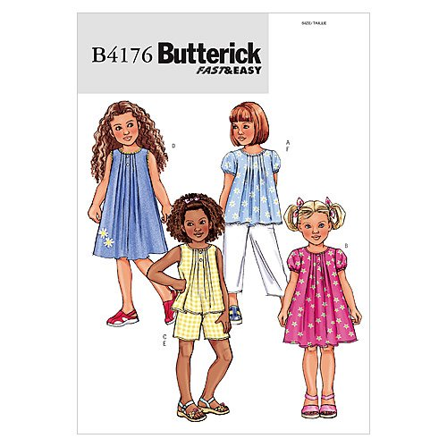 BUTTERICK PATTERNS B4176 Children's/Girls' Top, Dress, Shorts and Pants, Size 2-3-4-5 B4176020
