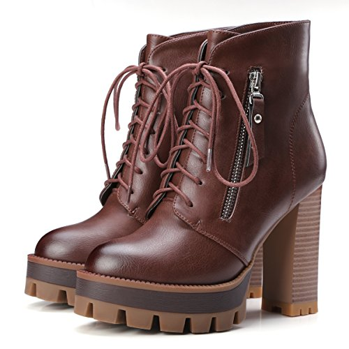 Martin Thick High Vintage Womens Heels Boots Women up AIWEIYi Lace Brown Ankle Boots wRvIxawq