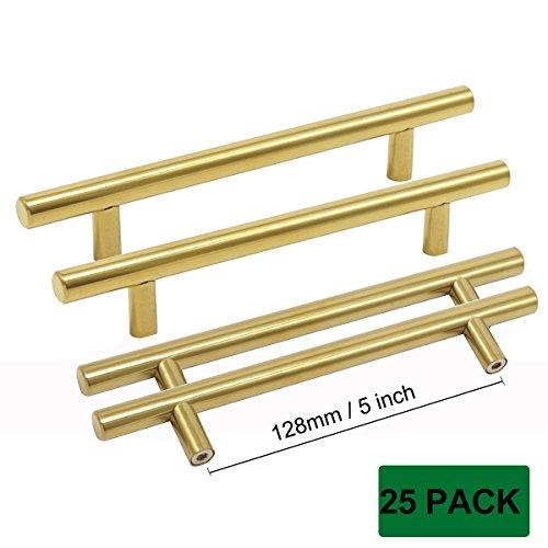 Probrico Furniture Drawer Bar Handles Brushed Brass Modern Kitchen Dresser Door Pulls Bathroom Brushed Brass Drawer Knobs 5