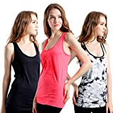 Semath Womens Workout Camisole Round Neck Racerback Tank Top 1,4 or 6 Pack