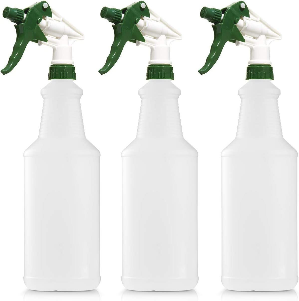 Empty Plastic Spray Bottle 32 Ounce, Professional Chemical Resistant with White-Green Sprayer for Chemical and Cleaning Solution, Heavy Duty, Adjustable Head Sprayer from Fine to Stream (Pack of 3): Automotive