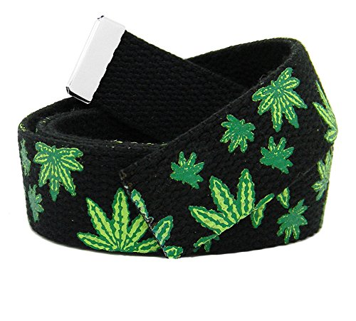 (Replacement Canvas Web Belt 1.25 Military Width Silver Tip Large Mary Jane Print)