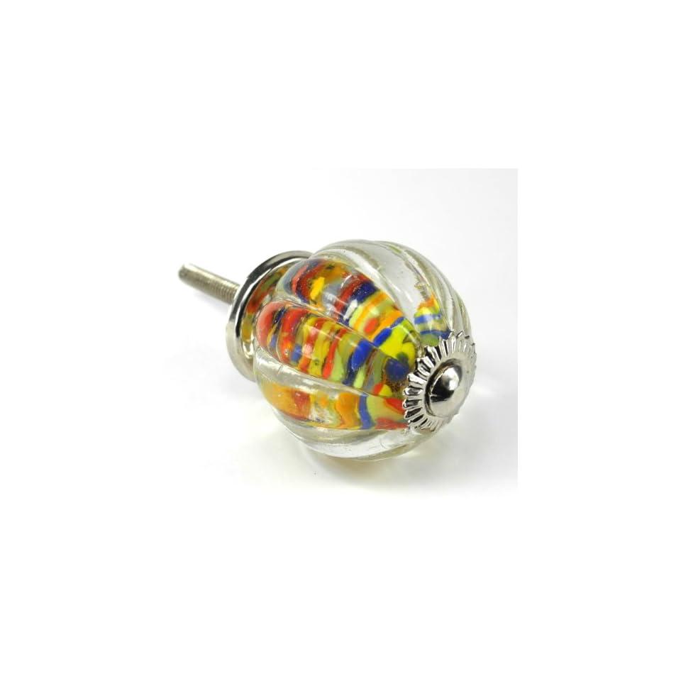 Shabby Confetti Melon Glass Cabinet Knobs, Drawer Pulls & Handles 6pc