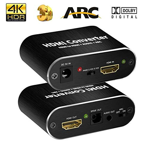 Best Buy! ARC Audio Extractor HDMI Adapter to Optical Toslink SPDIF with 3.5mm RCA Stereo Sound Spli...