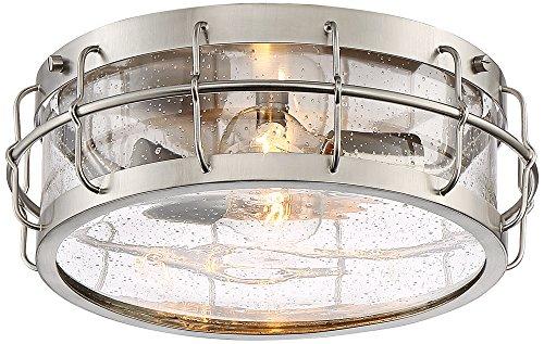 Aya 13 1/4 Wide Satin Nickel Caged Metal Ceiling Light